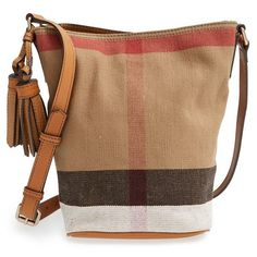 Burberry Brit 'Mini Ashby' Canvas Check Crossbody Bucket Bag (23,150 THB) ❤ liked on Polyvore featuring bags, handbags, shoulder bags, saddle brown, mini shoulder bag, canvas pouch, burberry crossbody, burberry handbags and canvas crossbody