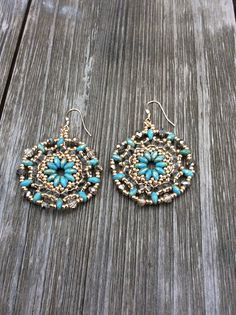 Gold Filled Mandala Earrings - Turquoise & Gold - Handmade - Seed Beads, Super Duo Beads, & Crystal Beads - Gold Filled Earring Wire