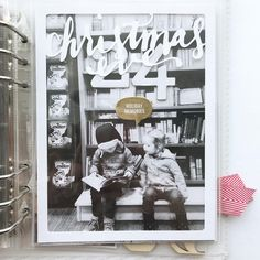"""Probably my favorite """"peek-through"""" view in my album. The Christmas Eve is by in her lily pad shop and sits… Christmas Countdown, Christmas Eve, Days In December, Christmas Journal, Mini Books, Scrapbooking Layouts, Project Life, Daily Inspiration, Photo Book"""