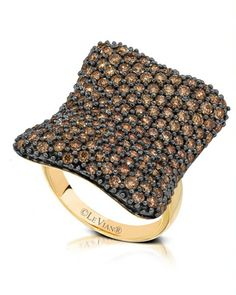 Le  Vian Chocolatier™ Saddle Up™ ring (YOQL 34) with Chocolate Diamonds® and Vanilla Diamonds® in Honey Gold™.
