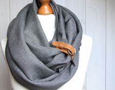 Chunky LINEN Infinity Scarf tube scarf with cuff pure door Zojanka,