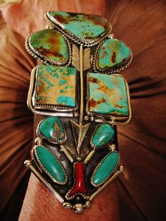 "NATIVE+AMERICAN+TURQUOISE+LEATHER+BRACELET,139g+Sterling+Silver+CHAVEZ,5.5""+wide+#CHAVEZNAVAJO"