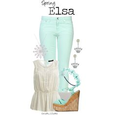 Elsa by charlizard on Polyvore featuring VILA, Love Moschino, Qupid, Whistles, Betsey Johnson, Finesque, Wet Seal, disney, springfashion and frozen