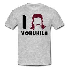 Vokuhila Frisur mit Schnautzbart. Die Klutfrisur vorne-kurz-hinten-lang als Motiv auf dein Shirt mit Bart.
