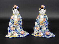 Pair of Antique Kutani Kannon Statues 7 inches #Kutani