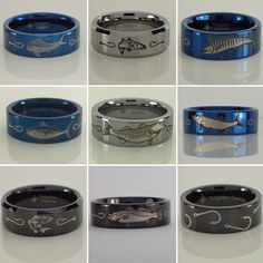 Tungsten fishing rings.  Mahimahi, snook, marlin, striped bass, tuna tarpon, redfish, spotted seatrout, and more.  Other hunting and freshwater fish designs available! Carp Fishing Bait, Bass Fishing Tips, Surf Fishing, Fishing Guide, Best Fishing, Saltwater Fishing, Fishing Lures, Fish Ring, Fishing Techniques