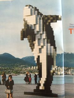 Pixelated killer whale at Jack Poole Plaza, Vancouver BC