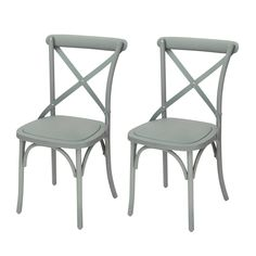 Joveco Econ-Friendly Nylon Vintage-Style Dining Chair Curved Leg Cross Back, Swedish Grey (Set of 2)