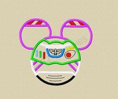 DESIGN - Instant Download - Version #2 Mister Mouse Space Rangers Buzz Head Applique Design - 3 sizes -