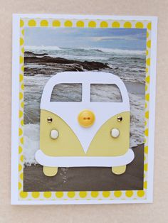 We had plans to go to the beach today but unfortunately my daughter came down with a fever. So, I've been hanging out with her and making some cards. This card was made from a pattern I found in the Summer issue of Made in Paper (pg. 23).