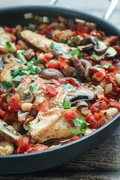 Tuscan-style Skillet Chicken with mushrooms, white beans, and sun-dried tomatoes. One pan, 45 minutes!