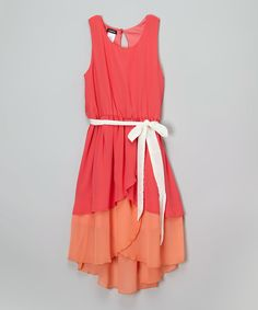Look at this Zunie & Pinky Coral & Orange Belted Hi-Low Dress - Girls on #zulily today!