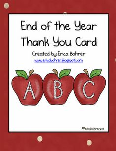 Erica Bohrer's First Grade: End of the School Year Card and Memory Book