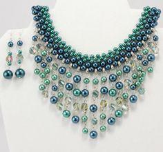 Blue Green Glass Pearl Bead Weaving Choker by FancyNancyVintage, $75.00