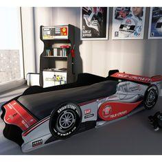 boys race car bed