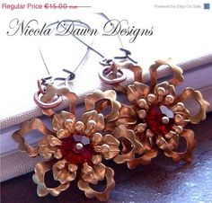 GOING HOME SALE Icy Golden Siam Red Filgree Earrings by JaniceRDesigns on Etsy