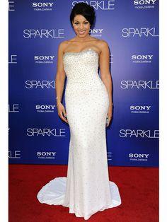 Jordin Sparks in a strapless, white, beaded dress!