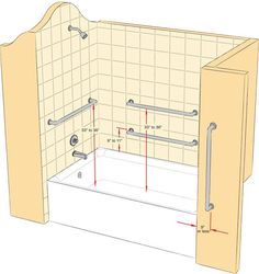 Where to install a grab bar diagram -- this is a reminder when we redo the shower to make sure there are good studs where we would want to install a grab bar in the future.