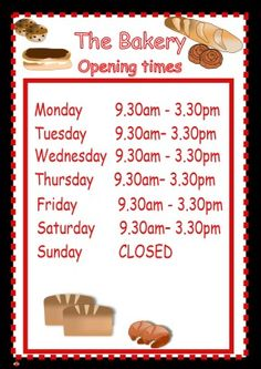 Role play The Bakery Opening Times poster