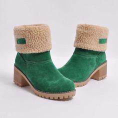 Damen Falte über Stiefel Warm klobige Ferse Winter Schnee Stiefel (5  Farben) Winterstiefel, 2ffcd99732