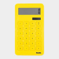 MoMA Corn Calculator    This 10-digit solar-powered calculator is easy to use and is made of environmentally friendly, biodegradable PLA plastic, a resin made from corn.