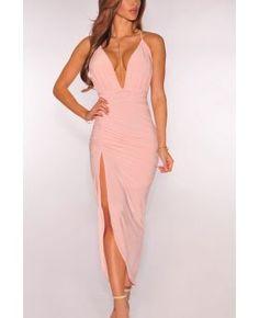 Sling Bandage Deep V-Necked Solid Backless Maxi Dress
