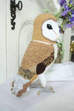 Barn Owl Crochet soft sculpture. $110.00, via Etsy.