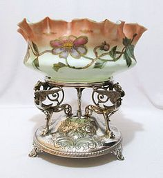 Cased Glass Brides Centerpiece with Silver Base Antique Glass, Antique Art, Antique Silver, Victorian Bride, Edwardian Era, Cut Glass, Glass Art, Victorian Baskets, Brides Basket