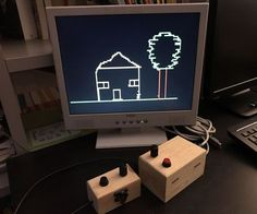 """When I was a child I have spent a lot of time playing with """"Etch a Sketch"""", a classical game where you can draw sketches on a plastic board turning two wheels. Recently I realized that not only it can be reproduced in colors with an Arduino on a VGA monitor, but that I already have all the necessary hardware. All I need are few lines of code! The hardware is indeed the same of my first Instructables: VGA Pong with Arduino Uno. The only needed components are two potenziometer..."""