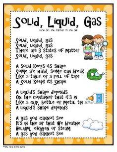 States of Matter Science Activities including a poem that students can learn to help them better understand the difference between solids, liquids and gasses.