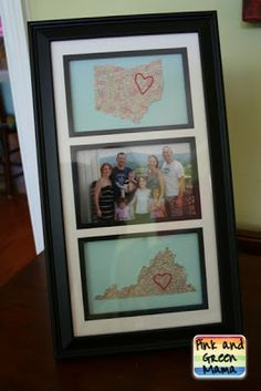 Pink and Green Mama: Homemade Gift: Embroidered Map Going Away Gift.  Would be cute to do the place you got married with a photo.  Grandparents maybe