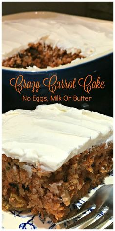 CRAZY CARROT CAKE - Also known as Wacky Cake and Depression Cake - No Eggs, Milk or Butter! Super moist and delicious. Go-to recipe for egg/dairy allergies. Recipe dates back to the Great Depression (Baking Desserts No Eggs) Vegan Carrot Cakes, Carrot Recipes, Eggless Carrot Cake, Vegan Lemon Cake, Just Desserts, Delicious Desserts, Dessert Recipes, Paleo Dessert, Lactose Free Desserts