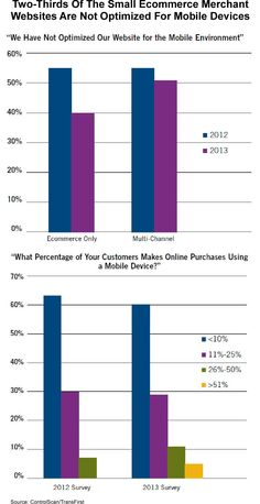 Online payment providers ControlScan/TransFirst teamed up in a research project to obtain insights into the small ecommerce merchants' advances and barriers they face in implementing various mobile payment technologies. They found that two-thirds of the small ecommerce merchant websites are not optimized for mobile devices. The research report can be downloaded here (registration required) https://www.controlscan.com/whitepapers/mobile_study_2013.php