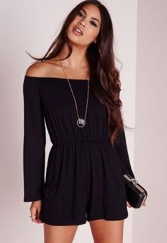 Jersey Bardot Playsuit Black