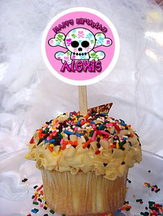 World of Pinatas - Girly Skull Personalized Cupcake Toppers Set of 6, $5.99 (http://www.worldofpinatas.com/girly-skull-personalized-cupcake-toppers-set-of-6/)