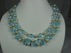 Vintage Three Strand Blue Art Glass Necklace Faux Pearl Accents Japan via Etsy