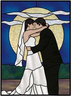 stained glass bride and groom