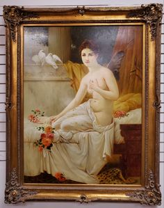 """This beautiful classic original oil painting measures approximately 48"""" x 58"""" including the beautiful gold frame. $2295 Vendor Displays, Antique Art, Oil, The Originals, Antiques, Gallery, Classic, Frame, Painting"""