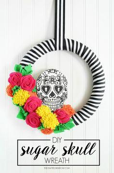 Sugar Skull Wreath - thecraftedsparrow.com #MakeItFunCrafts [ad]