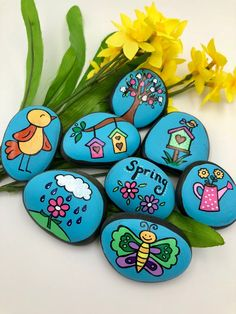 Easy Paint Rock For Try at Home (Stone Art & Rock Painting Rock Painting Ideas Easy, Rock Painting Designs, Paint Designs, Pebble Painting, Pebble Art, Stone Painting, Painted Rocks, Hand Painted, Story Stones