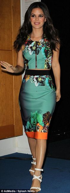 Fresh and floral: Rachel Bilson looked incredible in her tummy-baring top and high-waisted pencil skirt by Milly