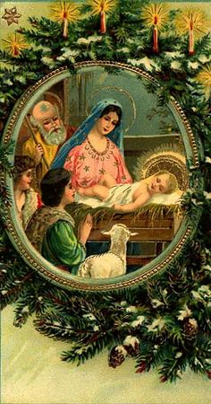 A Vintage Nativity Post Card Christmas Jesus, Christmas Nativity, Christmas Past, Xmas, Vintage Christmas Images, Antique Christmas, Christmas Postcards, Vintage Greeting Cards, Vintage Postcards