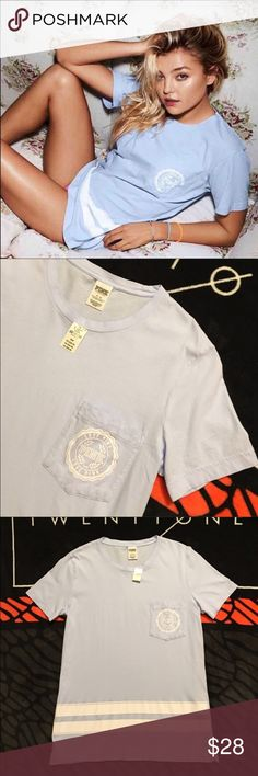 NEW VS PINK CAMPUS T NEW with tags  Size medium *cheaper on merc* PINK Victoria's Secret Tops Tees - Short Sleeve