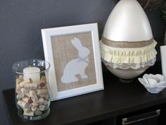 Burlap Easter Bunny Art with frame by PinkSlipInspiration on Etsy, $20.00