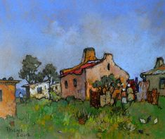 Watercolor Landscape, Watercolor Paintings, South Africa Art, National Art Museum, Pastel Artwork, South African Artists, Art Society, Building Art, Post Impressionism