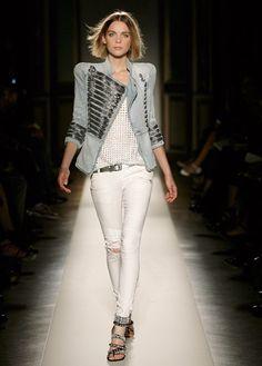 Christophe Decarnin for Balmain. Ripped Jeans, White Jeans, Balmain, Christophe Decarnin, Pandora Bracelet Charms, Charm Bracelets, Leather Jacket, Blazer, Denim