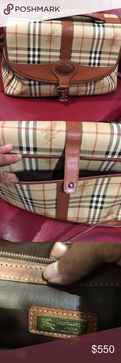 Authentic Vintage Burberry's Of London Travel Bag! This bag is in very good condition.  Has some wear to brown leather part of bag.  See pictures.  Has a strap for shoulder or Crossbody.  This bag is big. Inside pocket has a slight separation at seam. The name is Burberry's Of London then changed to Burberry in 1998. Burberry Bags Travel Bags