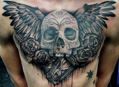 Winged Sugar Skull And Gothic Rose Chicano Tattoo On Man Chest