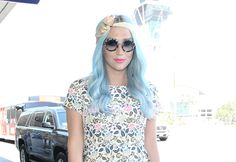 Kesha was seen at Los Angeles International Airport with new sky-blue strands and a candy-pink pucker.