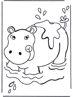 Baby Hippopotamus Colouring Pages Page 2